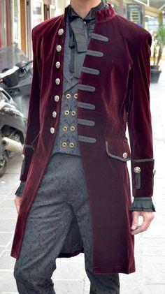 Veste en velours rouge avec rangee de sept boutons elegant aristocrate > JAPAN ATTITUDE - PENTA028   Shop : www.japanattitude.fr