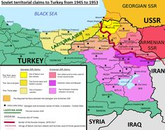 Soviet territorial claims to Turkey from 1945 to 1953 Turkic Languages, Semitic Languages, The Old Curiosity Shop, Blue Green Eyes, Indian Language, Country Maps, Alternate History, Eurasian Steppe, Golden Horde