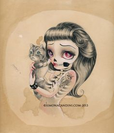 """Stay With Me LIMITED EDITION print signed numbered Simona Candini """"Bones And Poetry"""" lowbrow pop surreal big eyes sugar skull cat gothic art by SimonaCandiniArt on Etsy https://www.etsy.com/listing/165101883/stay-with-me-limited-edition-print"""