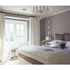 Elegant, cozy gray bedroom~curtain idea