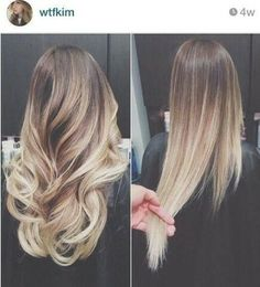 Ombre, lights blonde with a brown base