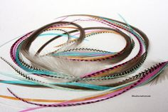 Hair Feathers Bonded Extension Feathers for Hair Colored Grey Pink Turquoise Blue Brown Long Feather Extension With Fluff DIY Kit