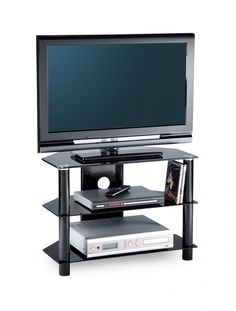 Essentials TV Stand in Black For 26 - Rigid tension rod construction. D-shaped for corner placement or flat ton wall. Cable management. Safety glass shelves toughened to British and European standards.nn