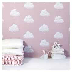Bartsch Childrens Wallpaper: Cotton Clouds in Pink by Bartsch Wallpaper Rose Pink Wallpaper, Cloud Wallpaper, Cute Girl Wallpaper, Nursery Wallpaper, Kids Wallpaper, Paris Wallpaper, Wallpaper Samples, Girl Nursery, Girl Room