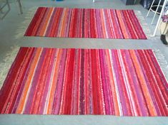 Loom Weaving, Hand Weaving, Weaving Patterns, Recycled Fabric, Woven Rug, Recycling, Outdoor Blanket, Interstitial Cystitis, Stripes
