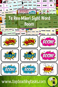 This resource includes 117 te reo Māori word cards, and superhero and BOOM cards to play the sight word game 'BOOM!' Help your students build their sight word fluency while also engaging them in this fun physical activity.   The aim of the BOOM card game is for children to read as many words as they can from a card stack before drawing a BOOM card. If they draw a BOOM card, they lose their cards and must start again. This game can be played in pairs or by individuals.  Further directions are…