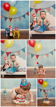Cake Smash Photo Session Inspiration First Birthday Dr Seuss Cat in the Hat Blue Yellow Red Book Cake Stripes Balloons Bunting Floorboards Studio Lifestyle Location Kirra Photography Dr Seuss Birthday Party, 1st Birthday Themes, 1st Birthday Cake Smash, Baby Boy 1st Birthday, Birthday Ideas, Smash Cake For Boys, Birthday Quotes, Birthday Gifts, Shower Bebe