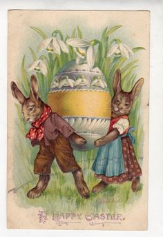 G390 Postcard Artist Designed Dressed Rabbits Carry Large Egg Embossed | eBay
