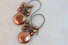 Bronze Freshwater pearl Earrings coin natural by JillianDesigns4u, $21.00