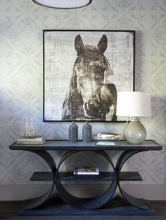 Entryway Boasts Unique Console Table and Showcases Horse Art - on HGTV