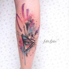 Tattoo artist Jules Boho color watercolor authors style abstract tattoo | Austria | #inkpplcom #julesboho #julesbohotattoo #colortattoo #abstraction #moderart #moderntattoo #contemporaryart #aquarelltattoo #watercolortattoo #watercolor