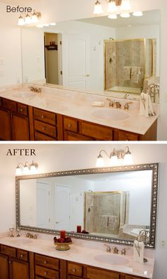 This is so cool! Now you can make the ugly & boring plain mirrors in your bathrooms look beautiful and finished with different style frames that simply attach over the existing mirror. Looks so easy! Definitely need these for my place!