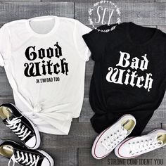 9f28638c Lei-SAGLY Couple T-Shirts BAD WITCH GOOD WITCH Letter Printed Top Tee Shirt