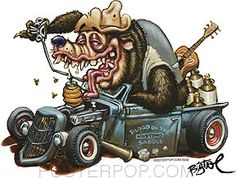 BigToe Hotrod Bear Sticker Cartoon Car Drawing, Cartoon Rat, Cartoon Kunst, Ed Roth Art, Cartoons Magazine, Cool Car Drawings, Rockabilly Art, Retro, Weird Cars