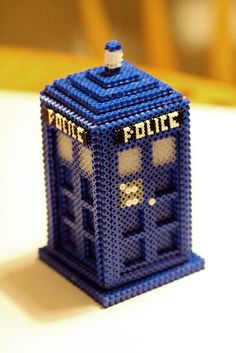 3D Tardis Doctor Who Hama Beads by lwordish2010, via Flickr