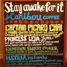 Caribou Coffee Dragon Con drink menu, 2014