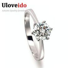 40% off presente dos amantes anéis de noivado para as mulheres de prata banhado jóias cubic zirconia encantos anel bijoux amor anel uloveido j002w(China (Mainland))