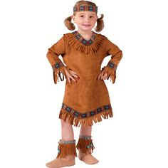 Our toddler Native American Indian costume is ideal for school plays, Halloween, or playtime. For a convenient group or family idea see our other Native American costumes. - Fringed dress - Matching h