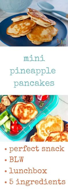 5 ingredient pineapple pikelets recipe. Refined sugar free, freezable and kid friendly. Delicious in a lunchbox, as a snack or for baby led weaning!