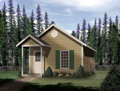 House Plan chp-15958 at COOLhouseplans.com.  448 sqft- most reasonable floor plan, but such a boring facade!