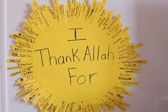 I thank Allah for.... Craft for kids to remember to be thankful always.