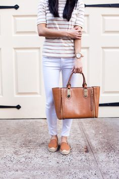 madewell striped shirt, soludos espadrilles, white jeans, henri bendel, christine petric, the view from 5 ft. 2