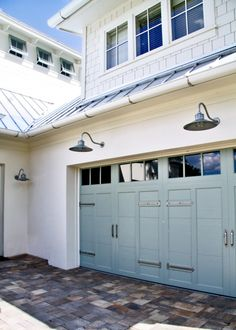 modern craftsman style garage doors and lights
