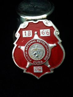 Vintage 1960's 1970's Red Cuban Police Badge by BlackCatBoneVintage, $175.00
