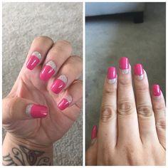 Pink nails with hallogram half moon