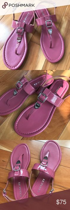 Coach Sandals Beautiful mauve color sandals.Size 6. Silver tone hardware. Great shoes for the summer. They are too big for me. New without the box. Coach Shoes Sandals
