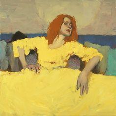 "Milt Kobayashi -""The Yellow Dress""- Contemporary Artist - Figurative Painting"