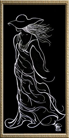 Black and white drawing of a woman Drawing Sketches, Art Drawings, Black Paper Drawing, Scratchboard Art, Folded Book Art, Silhouette Art, Dot Painting, Pencil Art, Black Art