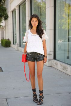 Shoes: viva luxury, shorts, t-shirt, jewels, bag, nail polish - Wheretoget