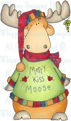 Merrry Kiss Moose - Christmas Images - Christmas - Rubber Stamps - Shop