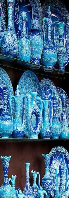 Turkish Blue Glazed Pottery - Arasta Bazaar in Istanbul, Turkey