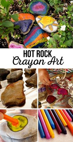 Hot Rock Crayon Art   If you find yourself unloading pockets full of rocks before starting a load of laundry, that's a good sign your kids are going to love Hot Rock Crayon Art for your next summer activity.
