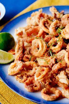 Crunchy Calamari With Ancho Chile Glaze Recipe - NYT Cooking Calamari Recipes, Fish Recipes, Seafood Recipes, Cooking Recipes, Healthy Recipes, Cooking Calamari, Seafood Appetizers, Fish Dishes, Main Dishes