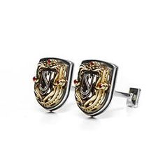 Heraldic cufflinks with monogramm Silver and yellow gold with garnets Men's Cufflinks, Vintage Cufflinks, Anthony Dinozzo, Jewelry Patterns, Men's Jewelry, Mens Clothing Styles, Precious Metals, Gentleman, Cuffs
