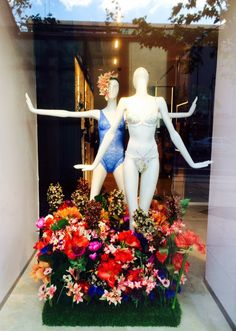 Spring Flowers lingerie window display