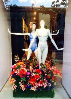Spring Flowers lingerie window display