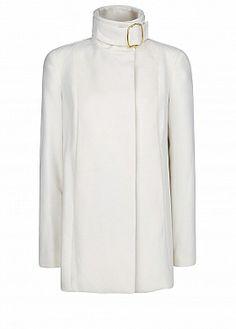 Mango Funnel neck coat, White #SS14 #Minimal #Fashion
