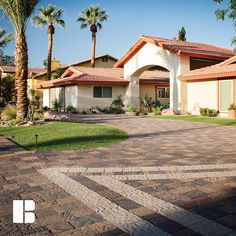 Create a dramatic entrance to your home through the use of design accents. Driveway Pavers, Driveway Design, Driveways, Walkways, Outdoor Spaces, Outdoor Living, Paver Patterns, Simple Borders, Entrance