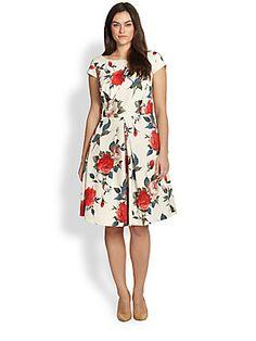 ABS, Sizes 14-24 Floral A-Line Dress saksfifthavenue.com