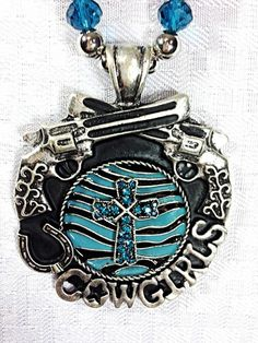 Necklace Blue Zebra Chunky Rhinstone Pistol Cowgirl Cross Western Bling Horse