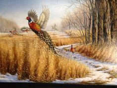 Acrylic Pheasant painting  Wildlife Art by BrushedwithColor, $95.00