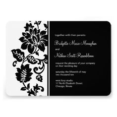 Wedding Invitation | Black Floral Damask