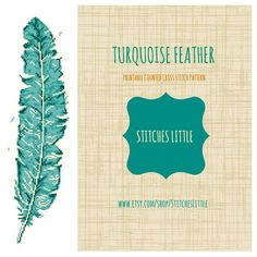 Modern Cross Stitch Pattern  Turquoise Feather  by StitchesLittle, $3.00 #DIY #needlecraft #StitchesLittle