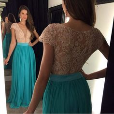 >> Click to Buy << Newest Turquoise Prom Dresses with Cap Sleeves Appliqued Lace Elegant Long Prom Gown with Deep V Neck Dress #Affiliate