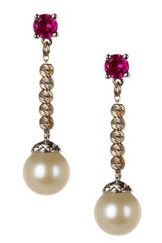 7.5mm Freshwater Pearl and Ruby Earrings