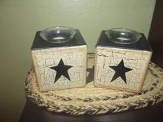 Primitive Wood Candle Blocks Votive ~ Crackled Tan & Black ~ Country Decor #NaivePrimitive